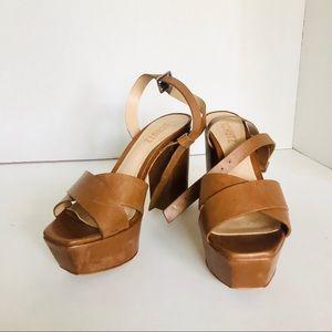 SCHUTZ 7.5 Brown Leather Platform Heel boho